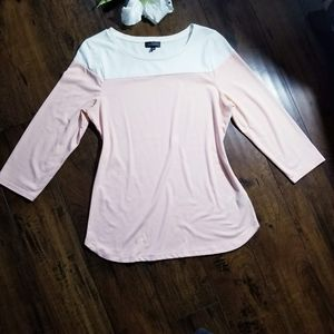 The Limited Peach & White 3/4 Sleeve Shirt Size M